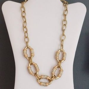 Gold, enamel and crystal chain link necklace